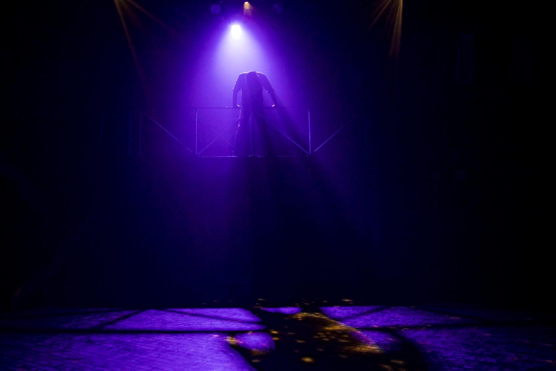 """Kamren Mahaney as Jack Kelly in """"Newsies"""" at Hillbarn Theatre."""