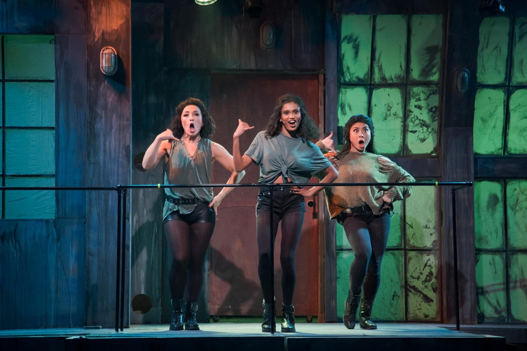 Ronnette (Melinda Campero, Left), Chiffon (Becky Alex, Center), and Crystal (Kylie Abucay, right) kick off the show with Little Shop of Horrors!