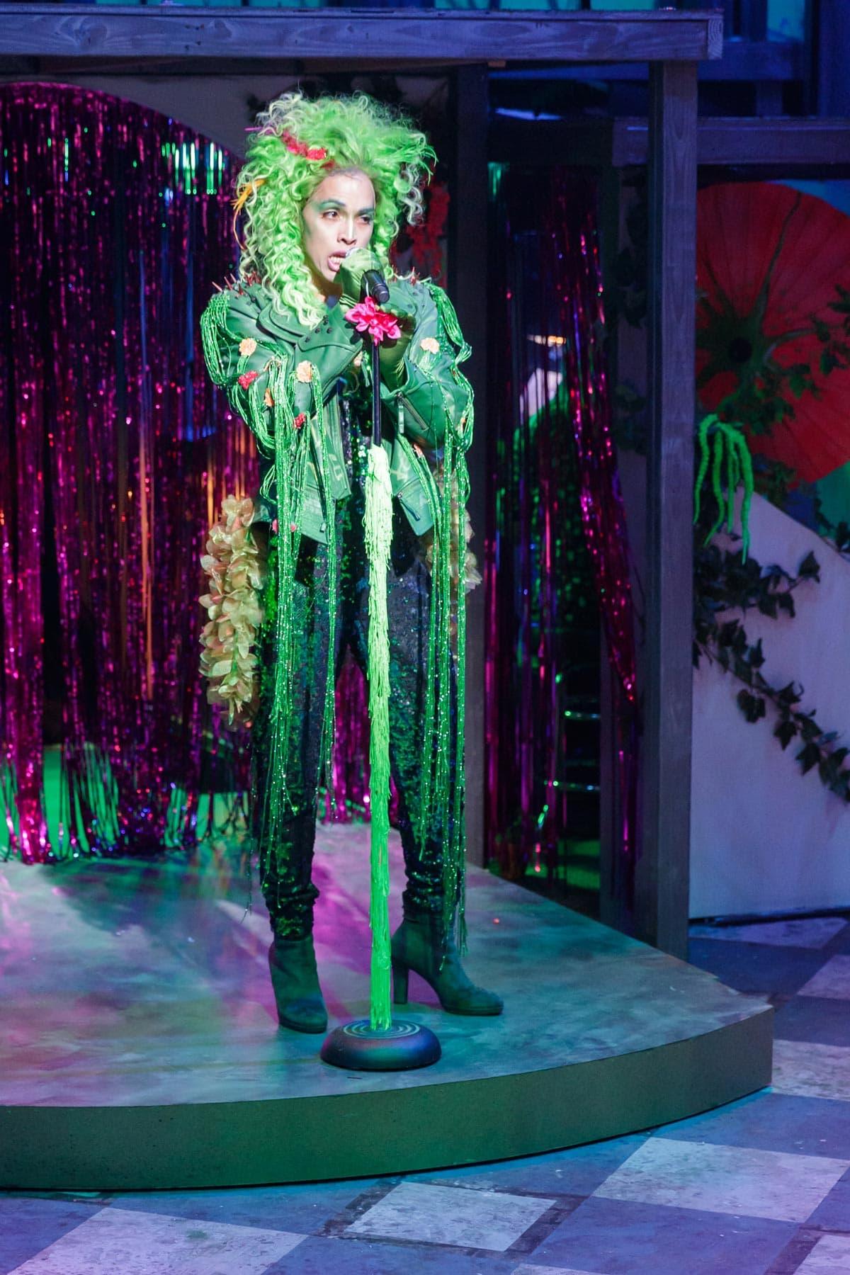 Jad Bernardo playing the role of Audrey II in HIllbarn Theatre's Little Shop of Horrors.