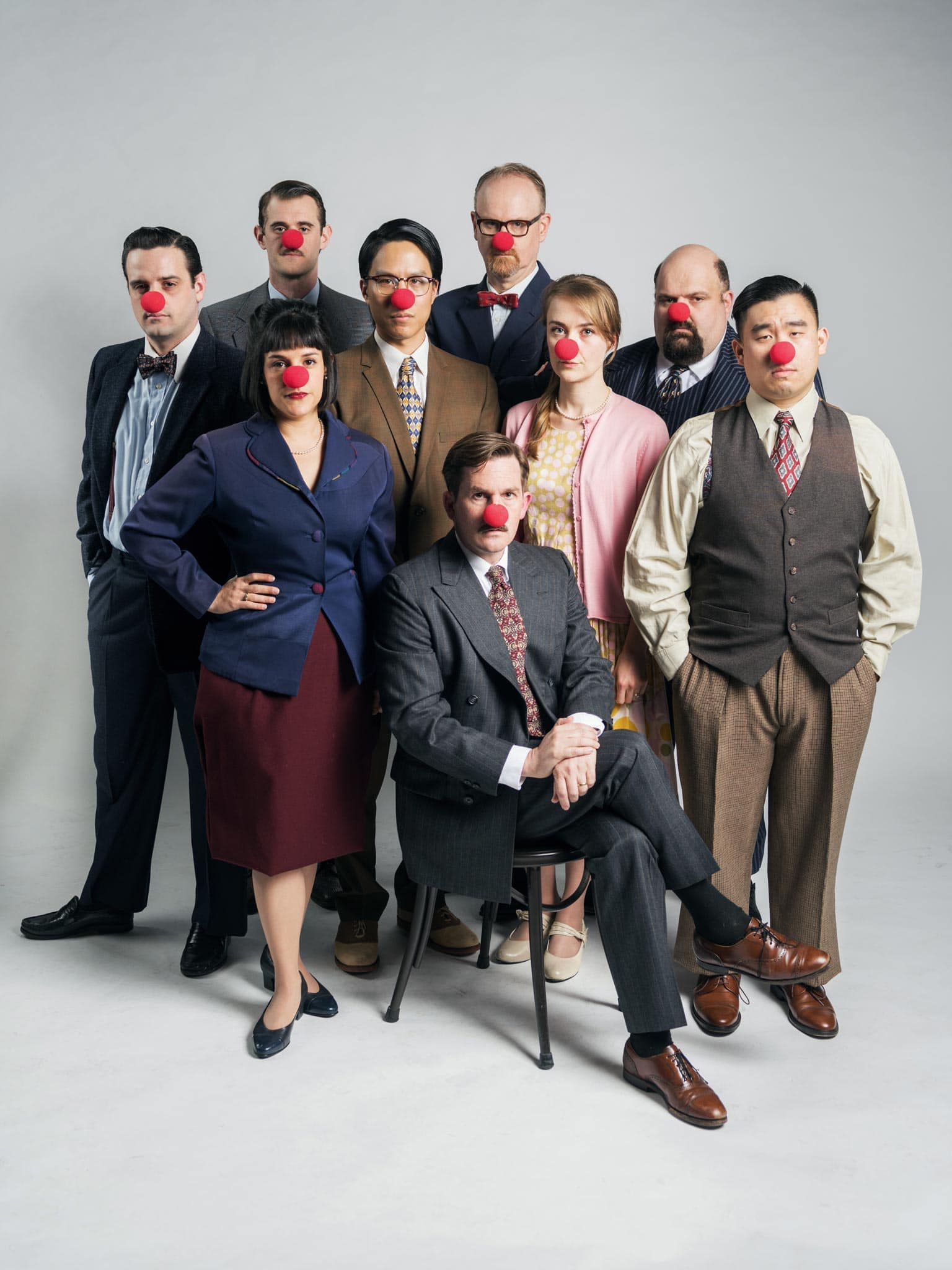 Comedy is serious business! The cast of Hillbarn's Laughter on the 23rd Floor. (Back row left to right) Max Tachis, Michael Champlin, Dan Demers. (Center, left to right) Josiah Frampton, Seton Chiang, Katie McGee, Phil Wong*. (Front Center, left to right) Roneet Aliza Rahamim, Patrick Kelly Jones*.  *Actor Appears Courtesy of Actors Equity Association
