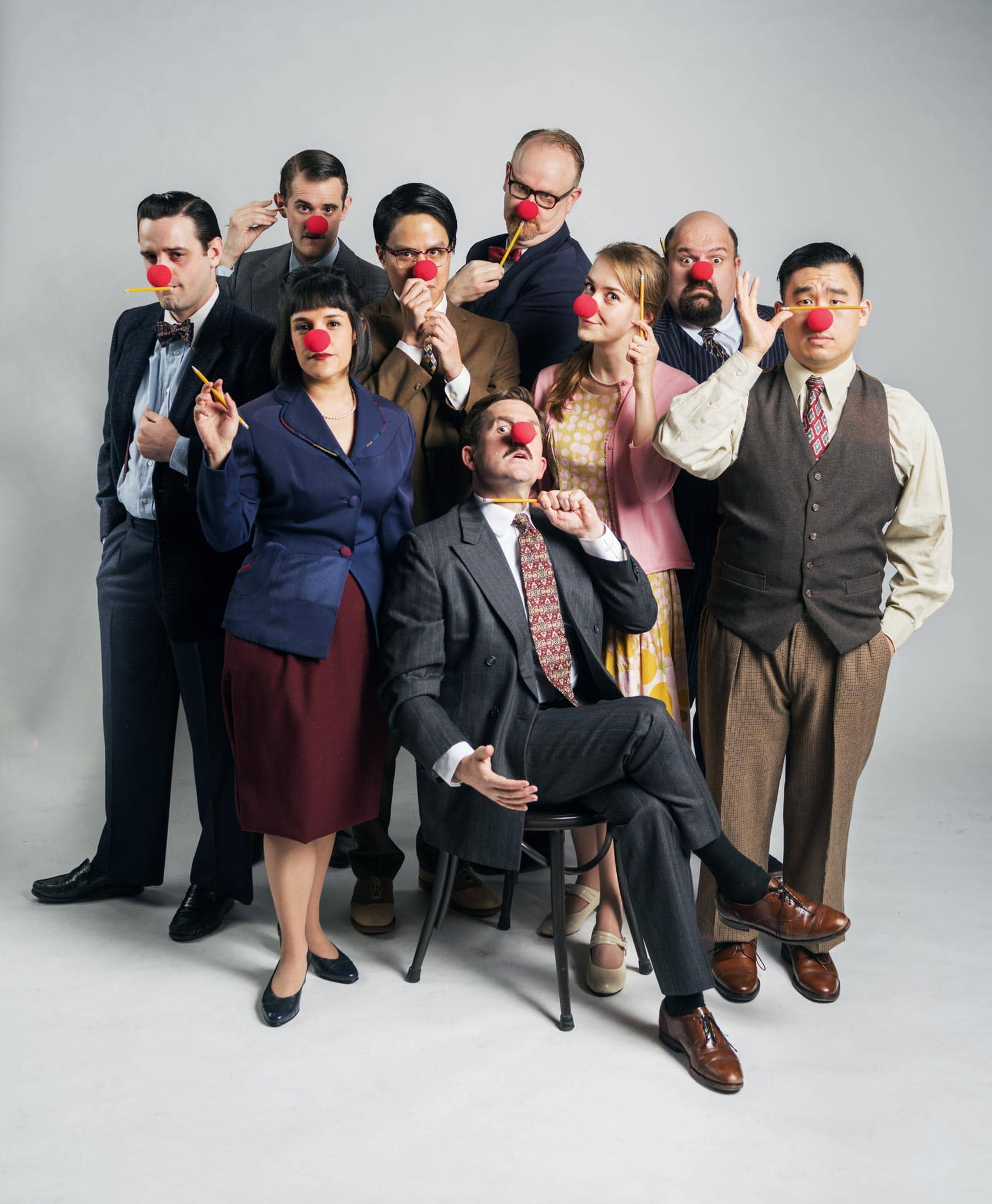 The Cast of Neil Simon's Laughter on the 23rd Floor. (Back row left to right) Max Tachis, Michael Champlin, Dan Demers. (Center, left to right) Josiah Frampton, Seton Chiang, Katie McGee, Phil Wong*. (Front Center, left to right) Roneet Aliza Rahamim, Patrick Kelly Jones*.  *Actor Appears Courtesy of Actors Equity Association